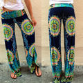 2016 Hot  Floral Women Casual Wide Leg Long Pants High Waist Palazzo Trousers Plus Size New