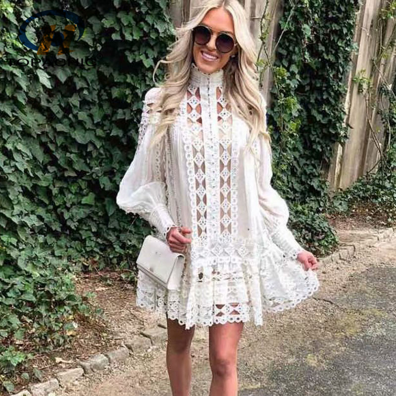 Topachic Spring Designer Dress Women s High Quality Puff Sleeve Embroidery Cutout Rivet Mini Boutique Vestido