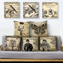 Funda de cojín estilo gótico Vintage europeo 45*45 fundas de lino para almohadas funda de cojín con estampado de flores Fundas de almohadas decoración del hogar