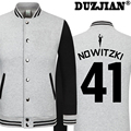 Dirk Nowitzki DUZJIAN Primavera nueva Maverick chaqueta informal hombres baratos chaquetas de invierno abrigo masculino maillot paris 2016 chaqueta de hip hop