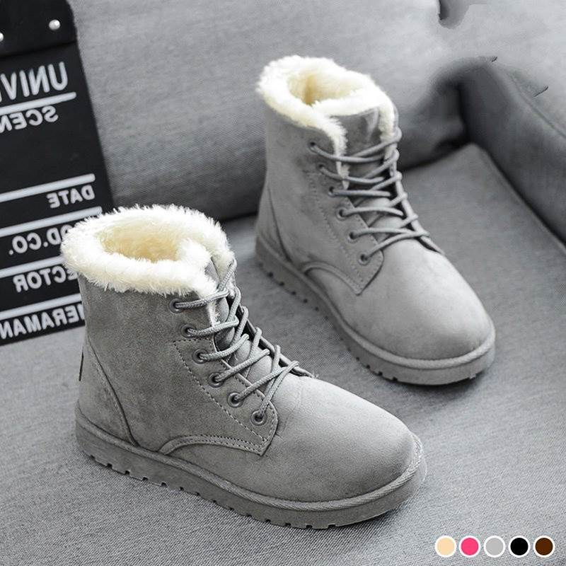 2018 mujeres de invierno botas para invierno zapatos Casual moda negro rojo marrón mujer caliente botas de nieve más tamaño AB119