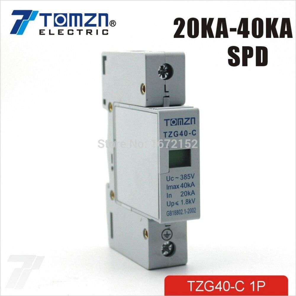 SPD 1P 20KA~40KA C ~385VAC House Surge Protector protection Protective Low-voltage Arrester Device