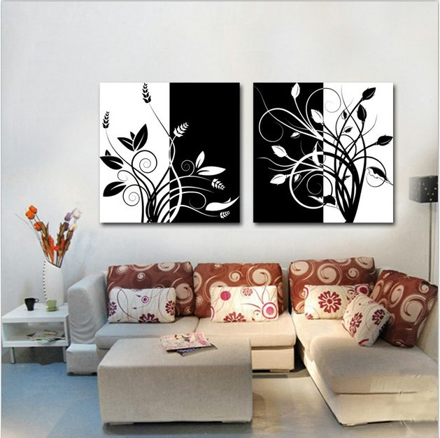 Black And White Floral Wall Decor : Pcs hot black and white flower oil painting on the wall