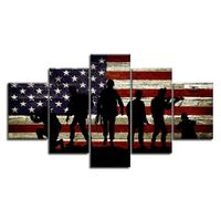 Military Soldiers Army US American Flag Wall Art Canvas Prints Thin Blue Red Line Home Decor Pictures for Living Room Bedroom
