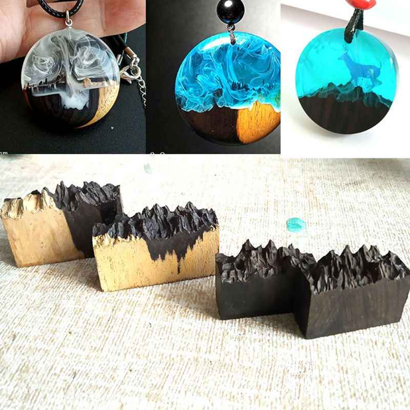 Wholesale Epoxy Resin Broken Natural Sandalwood Art Necklace Pendant Making Jewelry Making