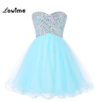 Милые красивые короткие Бальные платья со стразами голубой мяты Пром платье корсет Назад Vestido De Festa Курто