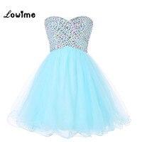 Cute Nice Short Homecoming Dresses Rhinestone Light Blue Mint Prom Party Dress Corset Back Vestido De