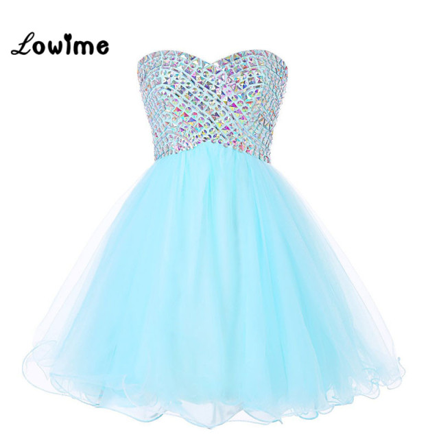 Slae Bride Top Grade Wedding Dress Bra Embroidered Bead: Cute Nice Short Homecoming Dresses Rhinestone Light Blue