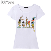European New Women T Shirt Little Cartoon Classic Hand Beaded T Shirt Femme Camiseta Short Sleeve