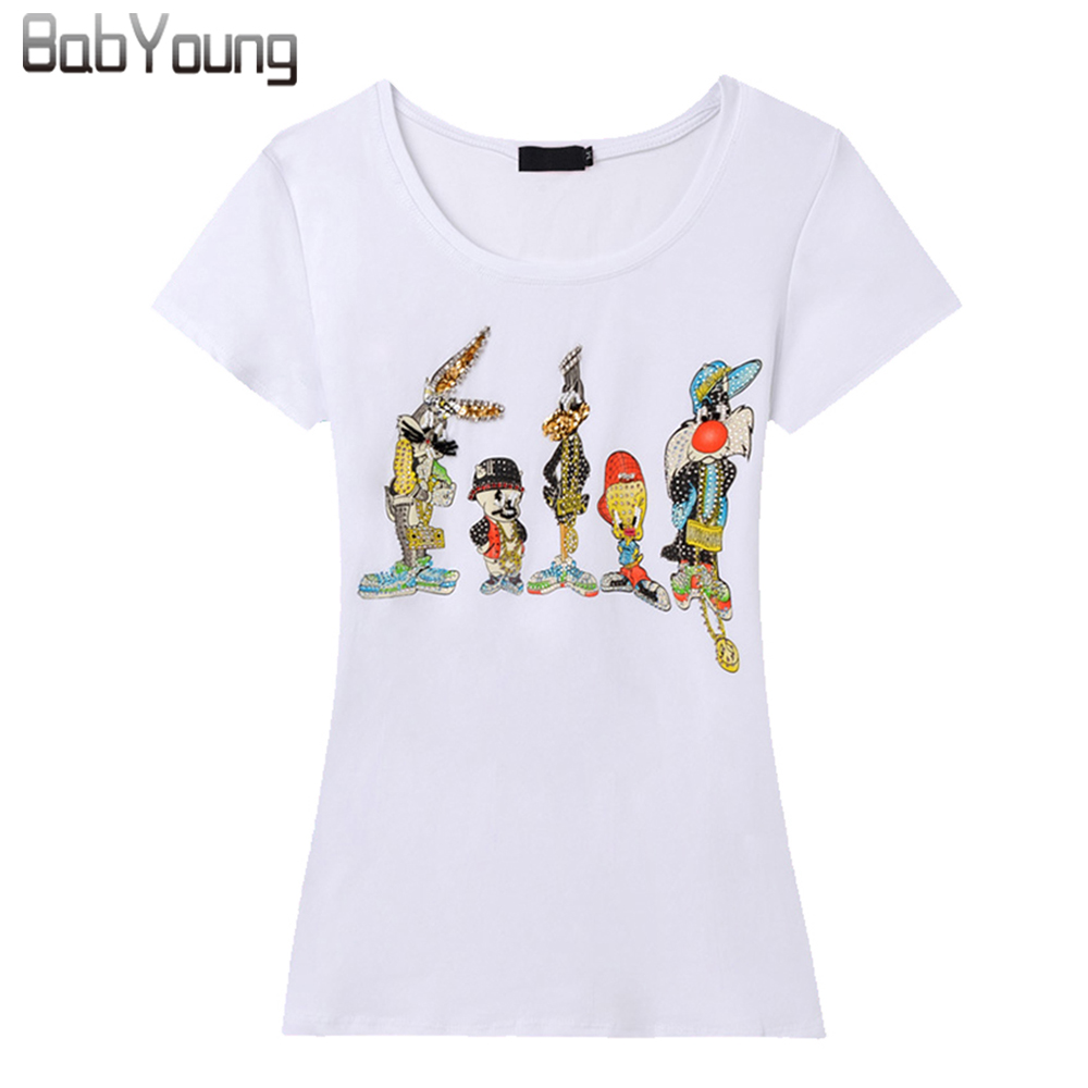 European New Women T Shirt Little Cartoon Classic Hand Beaded T Shirt Femme Camiseta Short Sleeve