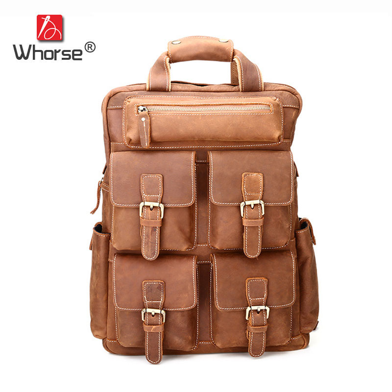 Famous Brand Vintage Multi-pocket Genuine Leather Men Backpack Cowhide Backpacks For Man Casual Travel Bag High capacity W630 simline new vintage casual genuine leather cowhide men mens large capacity travel backpack shoulder bag bags backpacks for man