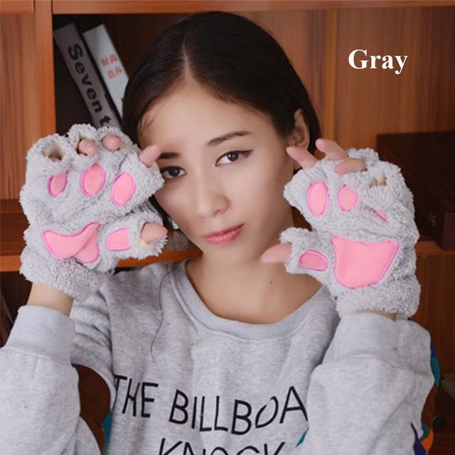 1Pair Lovely Women Gilrs Winter Warm Paw Gloves Fingerless Fluffy Bear Cat Plush Paw Soft Comfortable Party Vacation Gloves