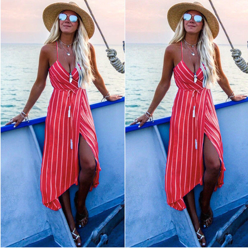 Women Dress Boho V-neck Bodycon Casual Party Evening Long Maxi Dress Sundress Summer Dress Fashion Sleeveless Dresses Vestidos summer casual bodycon dresses
