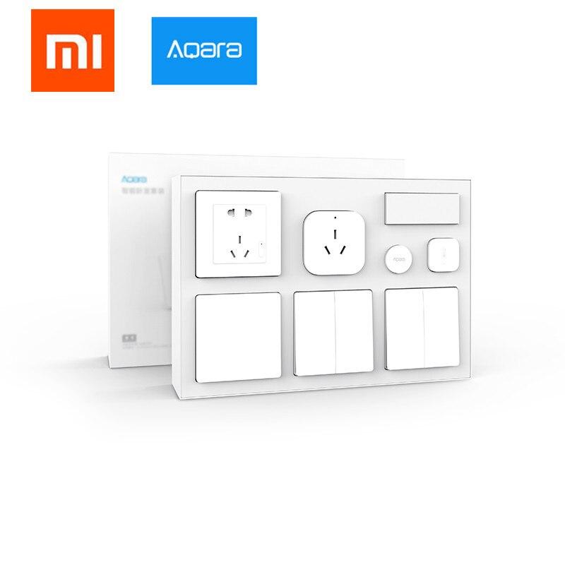 Kit de chambre à coucher intelligente xiaomi mi jia aqara d'origine, moyeu AQARA + capteur intelligent + interrupteur mural + clé sans fil pour mi home App kits de maison intelligente