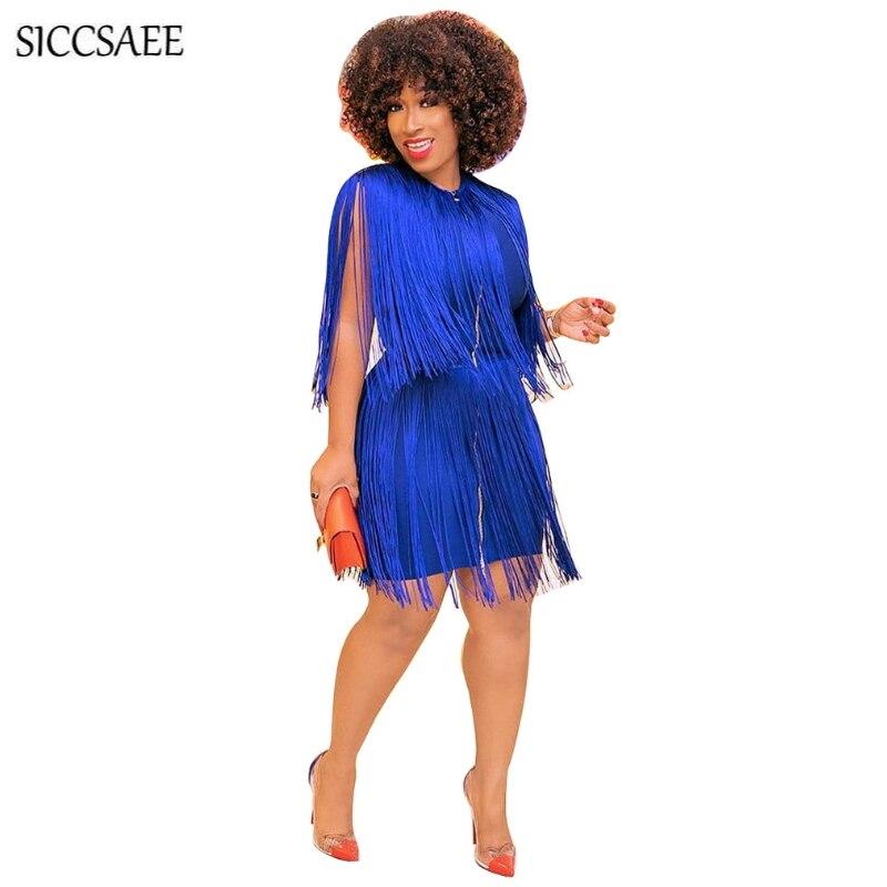Robe bleu Royal moulante Bandage Mni glands fermeture éclair avant Sexy Club robes pour femmes frange Vestidos grande taille vêtements XXXL