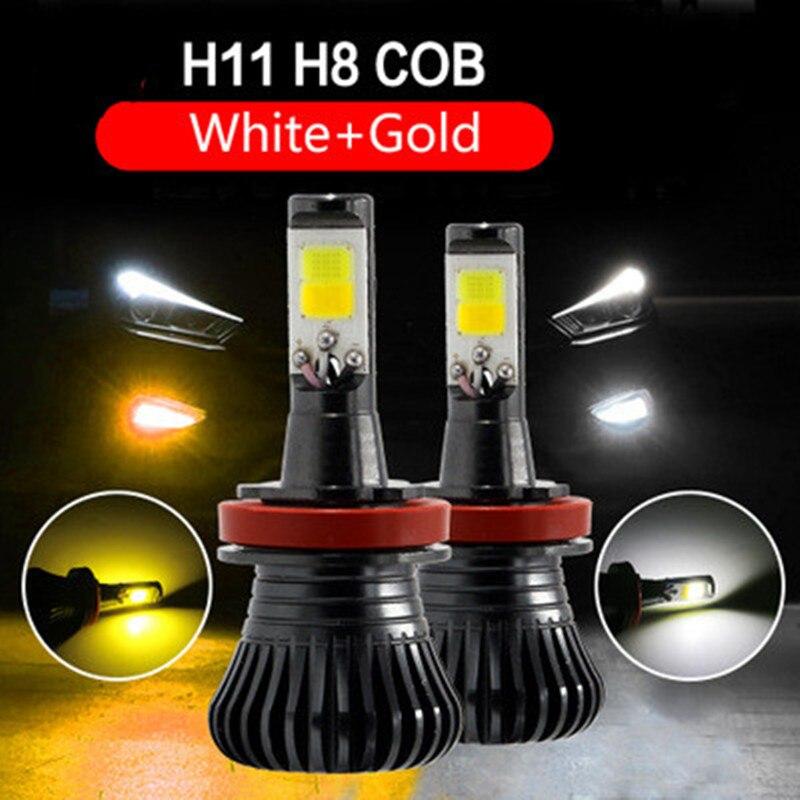 Car LED H8 H9 H11 Fog Driving DRL Bulb White Yellow Dual Color Flash HB3 HB4 9005 9006 H27 880 881 H3 Car lights
