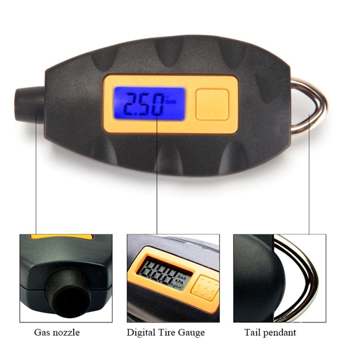High LED Backlight Wheel Tire Tyre Air Pressure Gauge Tester Digital Auto Meter Tool Vehicle Motorcycle Car 3-100 PSI KPA BAR