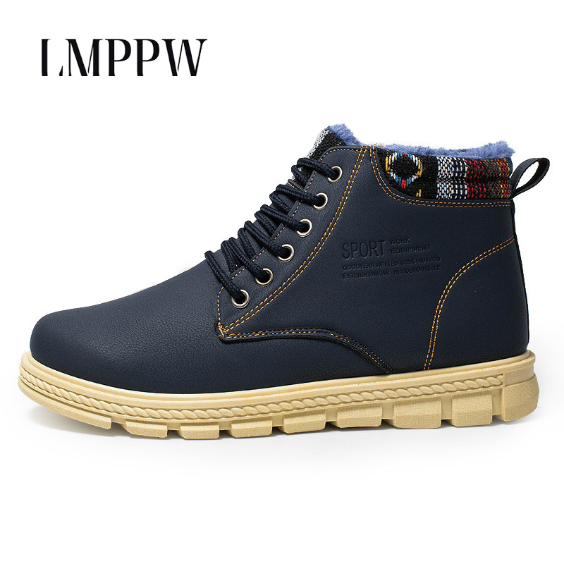 Winter Fur Super Warm Snow Boots for Men Casual Ankle Rubber Boots Waterproof Non-slip Male Work Shoes Fashion Male Footwear 2A