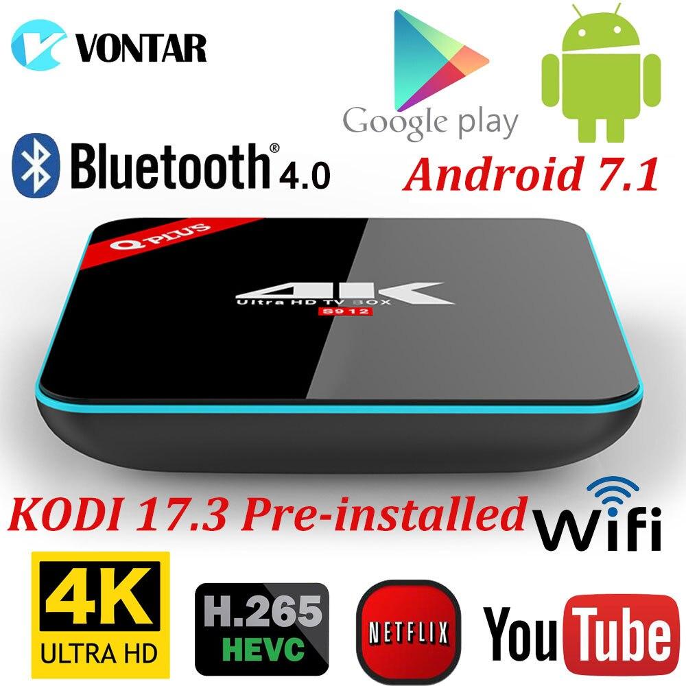 Q Plus 3 GB/32 GB 2 GB/16 GB Amlogic S912 Octa Core Android 7.1 TV BOX 2.4G/5 GHz Dual WiFi BT4.0 Completamente Carico 4 K Smart Media Player