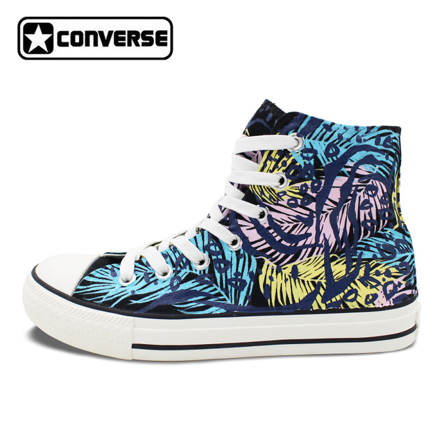 womens Skateboarding Shoes Canvas hand drawing leaves sketch Sport Sneaker