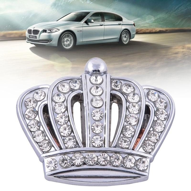 Car Styling Rhinestone Metal Crown Emblem DIY Silver Sticker Auto Side Sticker Decal Crystal Crown Badge Car Decoration 2pcs auto aluminium red rs for camaro side wing emblem decal badge sticker