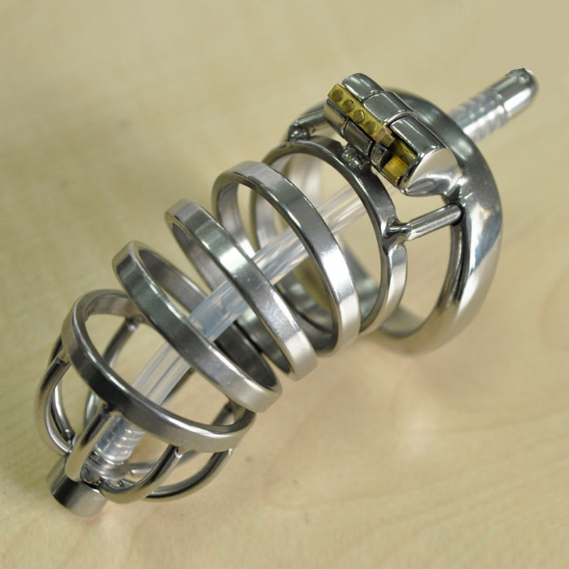 Lockable Stainless Steel Male Chastity Device With Urethral Catheter,Long Cock Cage,Penis Sleeve Rings ,BDSM Sex Toys For Man