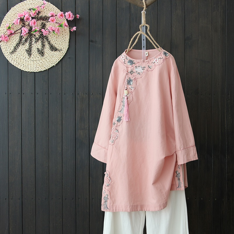 Traditional Chinese Clothing Womens Tops Blouses Linen Plate Button Shirt Oriental Female Cheongsam Top China Clothing