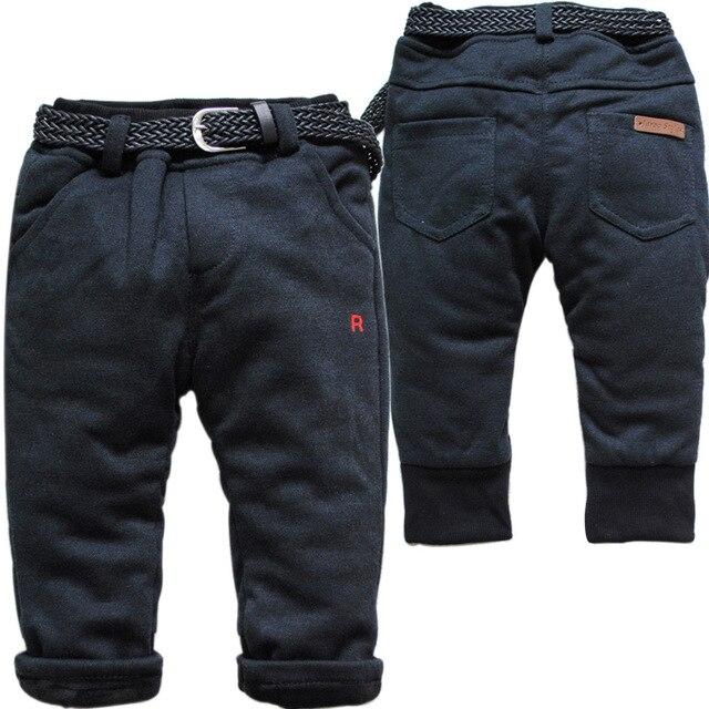 3774 10-12 М зима теплая эластичный пояс детские брюки случайные штаны флис и Средний хлопка детей мальчиков девочек детские брюки черный