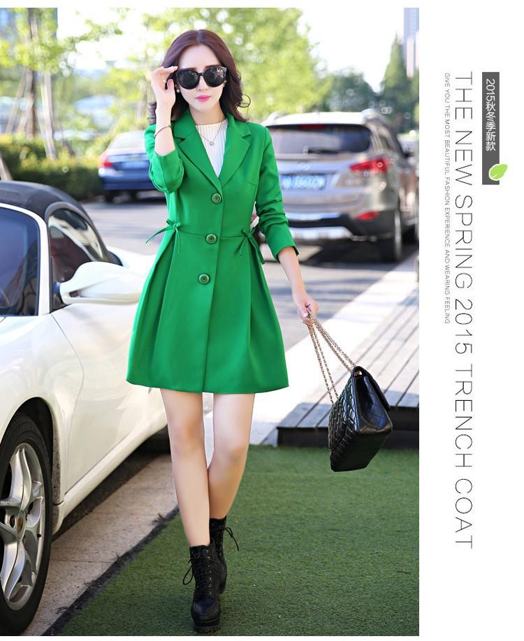 Super Pretty  Elegant Trench Coat Women Windbreaker Ladies Peplum Jacket Pink Grey Green Manteau Femme Silm Long Blazers dddd