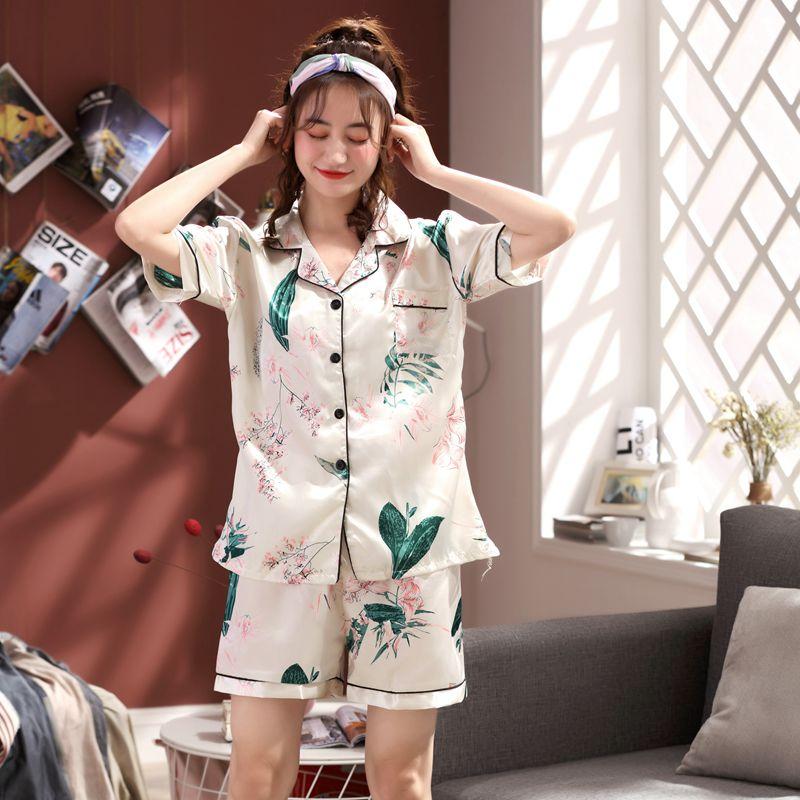 Summer Silk Cardigan   Pajamas     Set   for Women elegant Home Clothes cute Print Short Pant Sexy Sleepwear   Set   girls Two Piece   pajamas