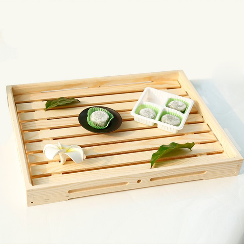 Natural Wood Bread Board Food Storage Trays Eco-Friendly No Paint Wooden Baking Cake Plate Tea/Desserts Trays Tableware