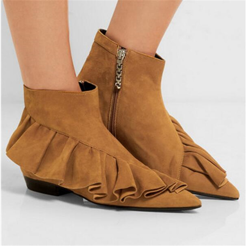 2017 Fashion Women Shoes Boots Square Heels Pointed Toe Boots Botines Mujer Para Mulheres Western Zipper Ankle Boots For Women fashion pointed toe lace up mens shoes western cowboy boots big yards 46 metal decoration