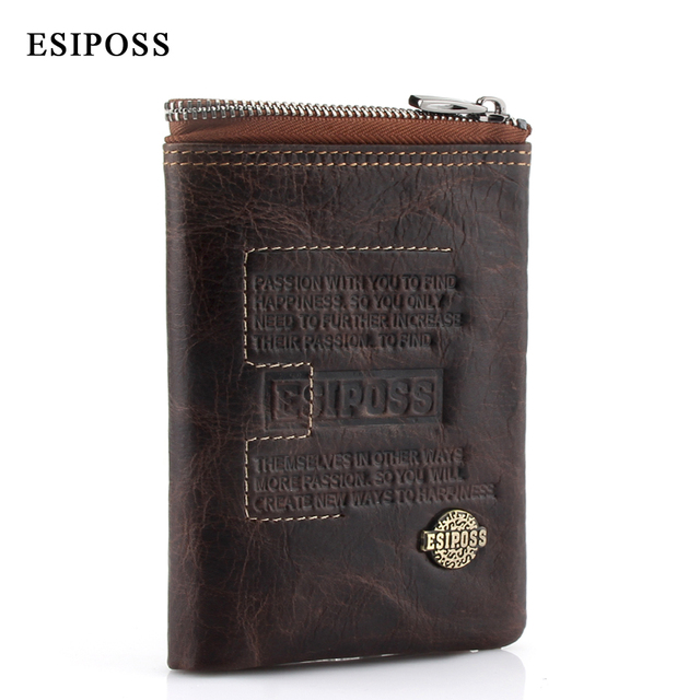 5dcfe57a0a2c3 ESIPOSS Men s Wallet Genuine Leather Purse Luxury Designer Men Purse Card  Holder Bifold Short Purse Clutch Coin Pocket Wallets