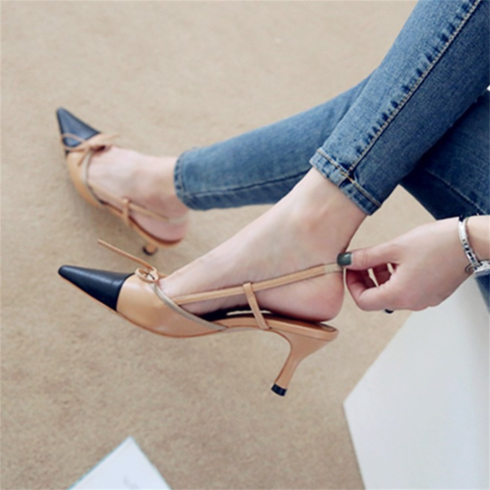 2019 summer women 39 s sandals fashion design really leather fabric pointed toe 5CM stiletto shoes women sandals size 34 40 in High Heels from Shoes