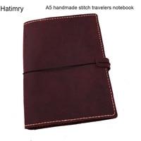 A5 geuine leather travelers handmade stitch notebook diary caderno agenda book caderno escolar defter journal vintage notebook