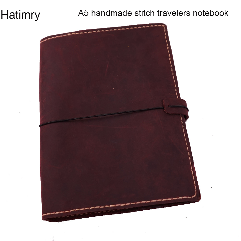 A5 geuine leather travelers handmade stitch notebook diary caderno agenda book caderno escolar defter journal vintage notebook a5 a6 6holes heart hand account page notebook notebook agenda caderno escolar office school supplies