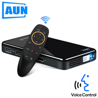 AUN LED Projector X2. 3D Beamer. Built in Android, WIFI/Bluetooth. Mini Projector for Home Cinema. Support 1080P(Optional Voice)