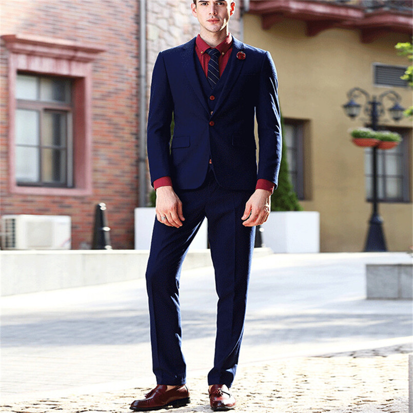 Mix&Match Fashion 3 Pieces Mens Suits Red Button Navy Blue Best Groom Man Tuxedos 2017 slim fit Young Men Suit (Coat+Trousers)