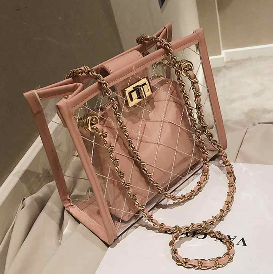 Transparent Jelly Big bag 2019 Fashion New High Quality PVC Women's Designer Handbag High capacity Chain Shoulder Messenger Bags