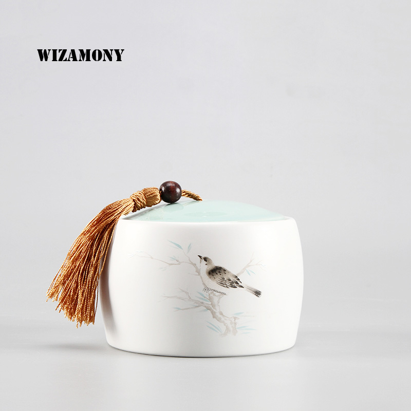 WIZAMONY Tea Jar Ancient Box Jar Ceramic Canister Products  Kitchen - Kitchen, Dining and Bar