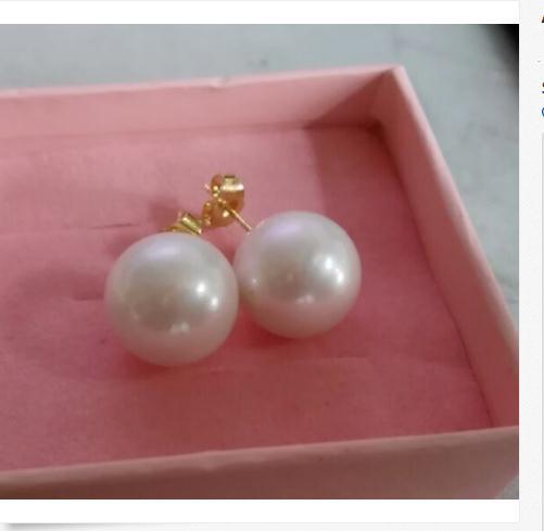 Classic coppia di 12-13mm mare del sud bianco rotondo orecchino di perla 18 kClassic coppia di 12-13mm mare del sud bianco rotondo orecchino di perla 18 k