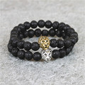 2pcs Mix Colors Jewelry Antique Gold Plated Lion Leo Black Lava Onxy Agate Round Stone Beads Bracelet Men