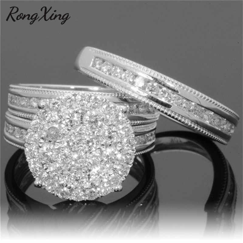 RongXing Luxury Female White Bridal Wedding Ring Set Fashion 925 Silver/Gold Filled Jewelry CZ Stone Engagement Rings For Women
