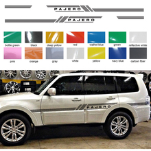 car stickers 2pc cool side door stripe styling graphic vinyls accessories decals custom for mitsubishi pajero sport