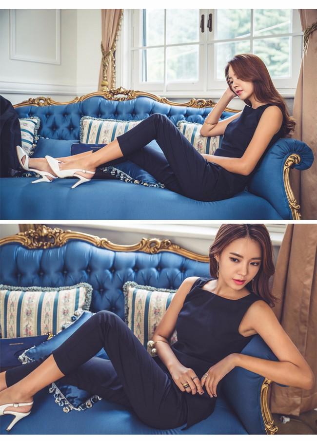 women pant suit Sleevless Shirt and Cropped Pants (4)
