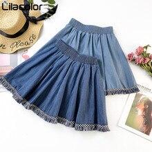 Vintage Tassel Women Mini Skirts High Elastic Waist Short Blue Cotton Skirt A Line Jeans Solid Female Girl Skirts Denim Skirt цена 2017