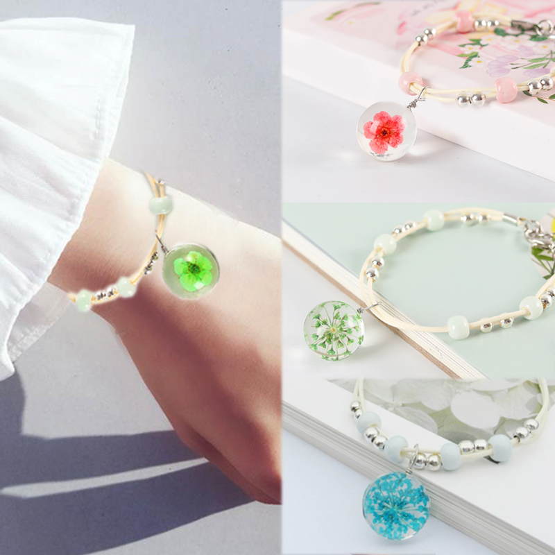 Gifts Hot Sale 1PC 2018 New Arrival Peach Blossom Babysbreath Glass Ball Bracelet With Dried Flowers Allergy Free Adjustable