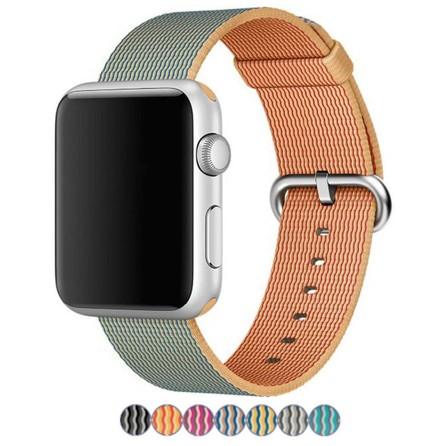 Woven Nylon Watchband for iWatch Apple Watch 38mm 42mm Colorful Band Fabric Strap Bracelet with Built-in Link Connector Adapter