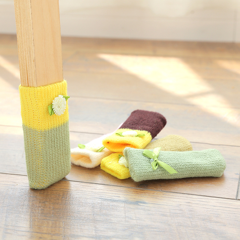 4pcs Chair Leg Socks Cloth Floor Protection Anti-skid Furniture Feet Sleeve Cover Table Foot Cat Scratching