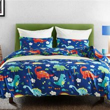 Dinosaur Family Bedding Set for Kids Cartoon Bed Cover Single Boys Duvet Cover Set Jurassic Printed Bedclothes Home Decoration(China)